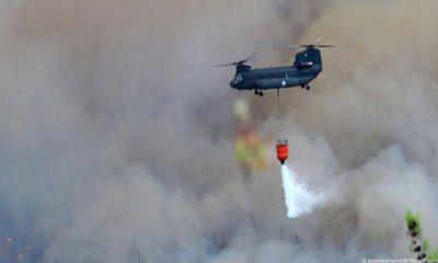 Helicoptero en incendio de Santa Cruz