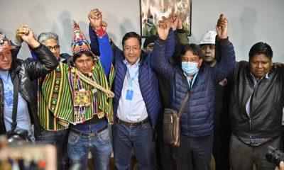 Luis Arce y David Choquehuanca festejan triunfo del MAS