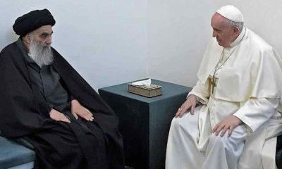 Francisco y Al-Sistani en su residencia.