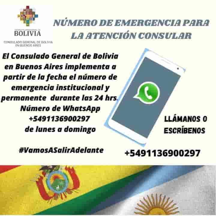 Consulado de Bolivia en Buenos Aires WhatsApp