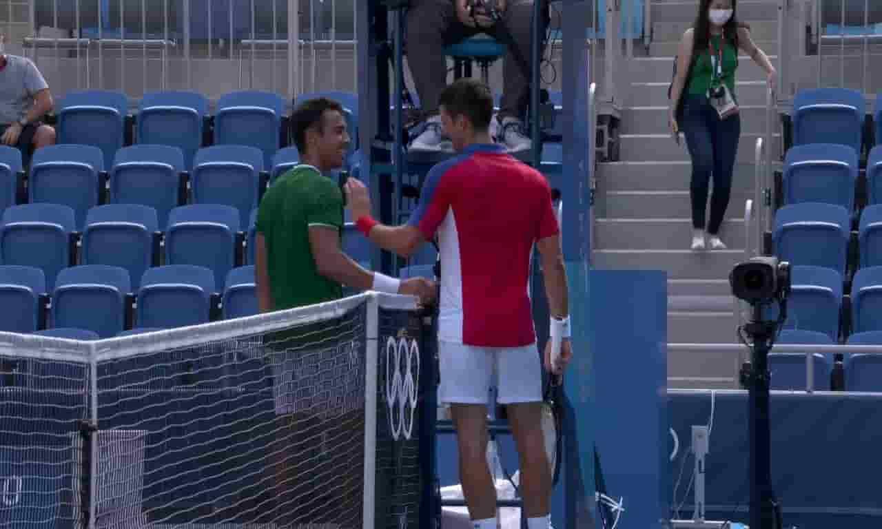 Hugo Dellien y Novak Djokovic en los Juegos Olímpicos Tokio 2020